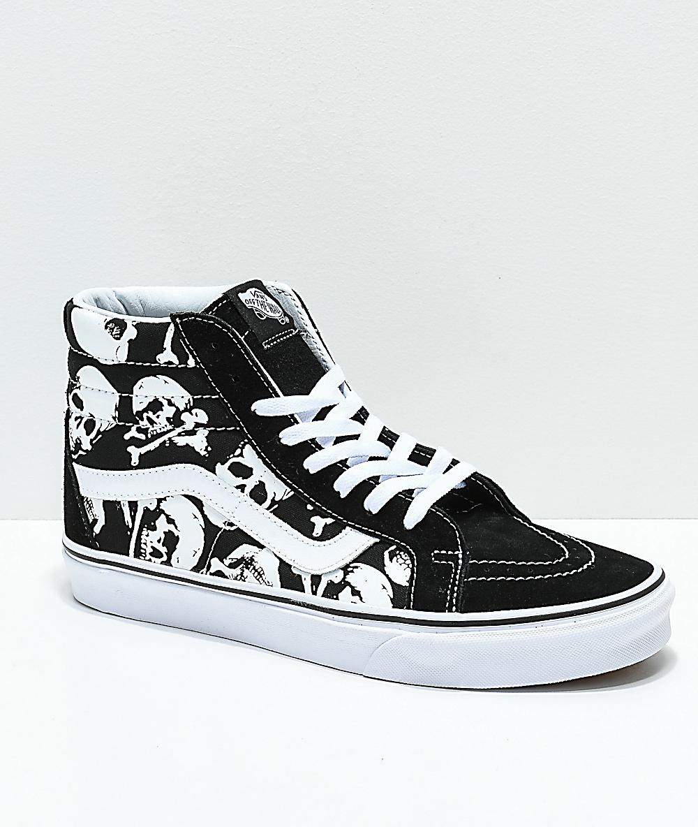 74f88c28e4c665 Vans Sk8-Hi Skulls Black & White Skate Shoes | Zumiez