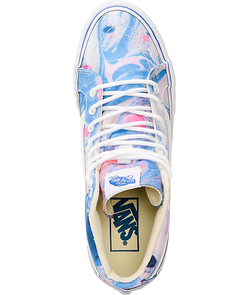 67d7647aa3 Vans Sk8-Hi Slim Marble & True White Womens Shoes