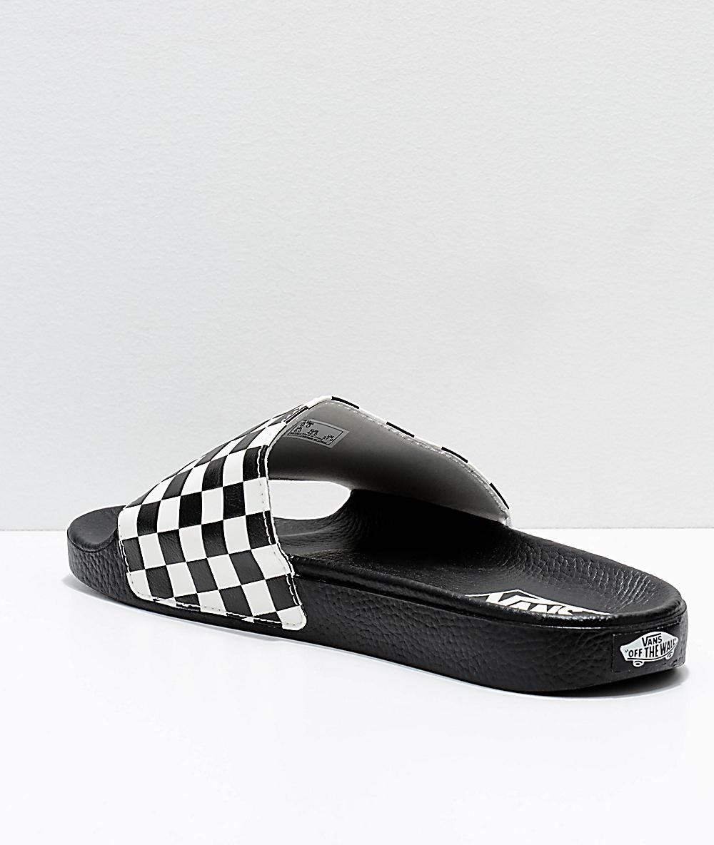 Vans Slide A Y Blanco Negro Sandalias Cuadros On En QdsrthxCB