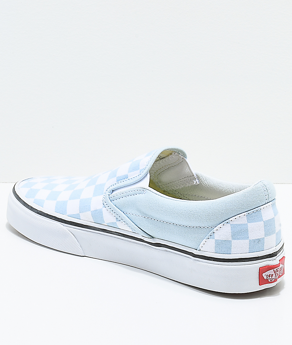 vans classic slip on trainers baby blue white checkerboard