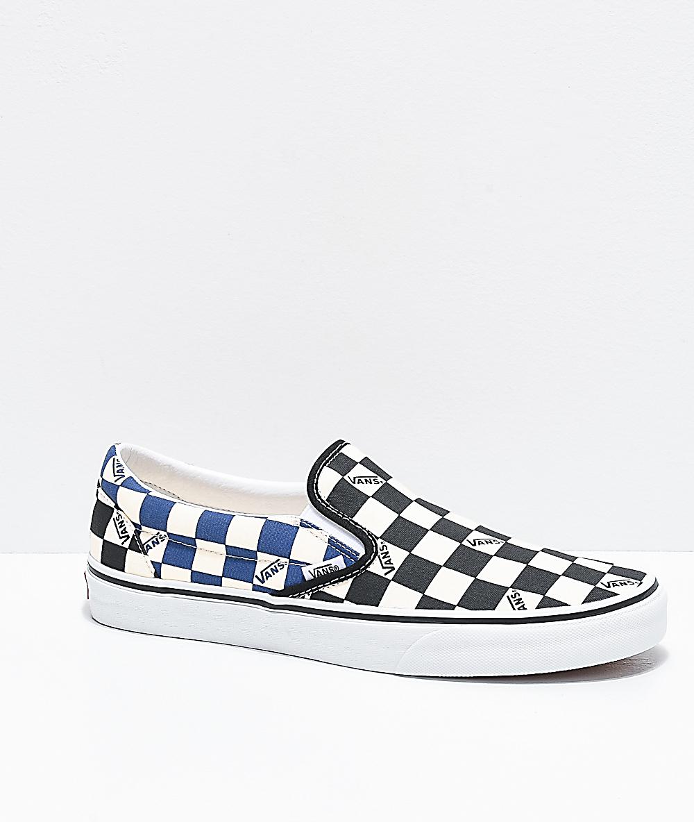 Navy Big Checkerboard Skate Shoes