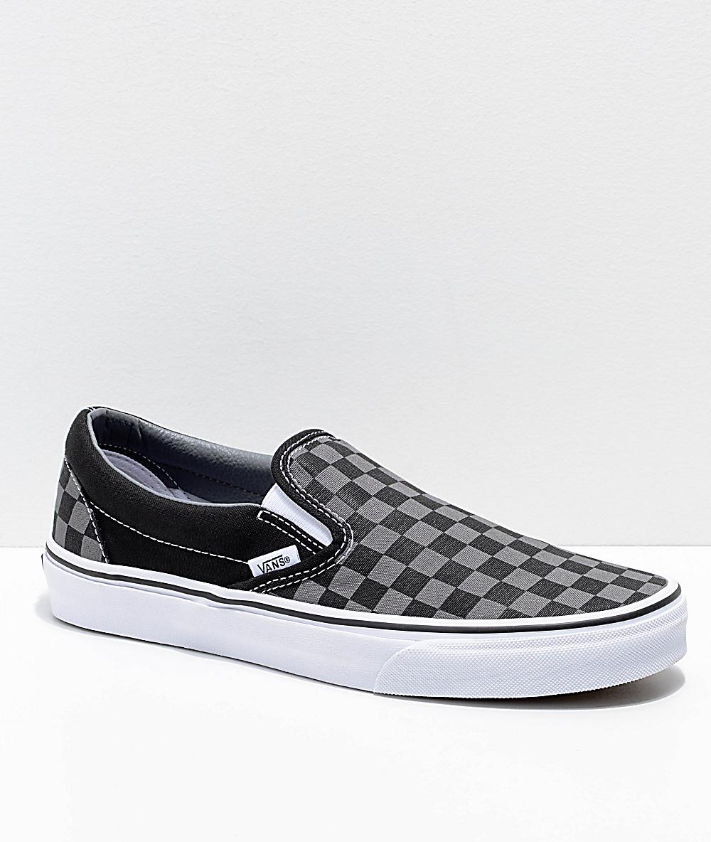 2238ff4c651d1 Vans Slip-On Black & Pewter Checkered Skate Shoes | Zumiez