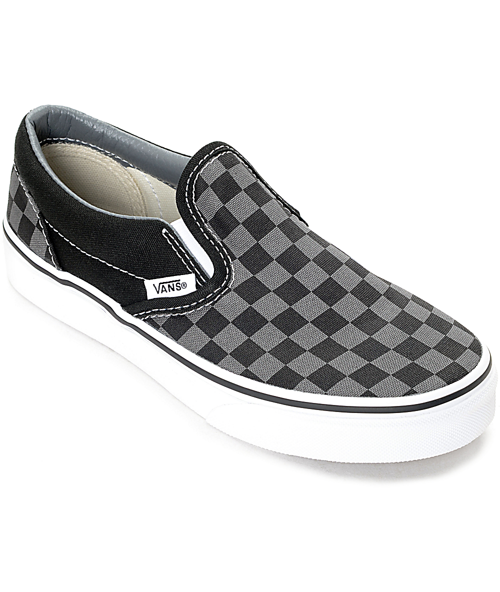 Vans Slip-On Black & Pewter Checkered Kids Skate Shoes