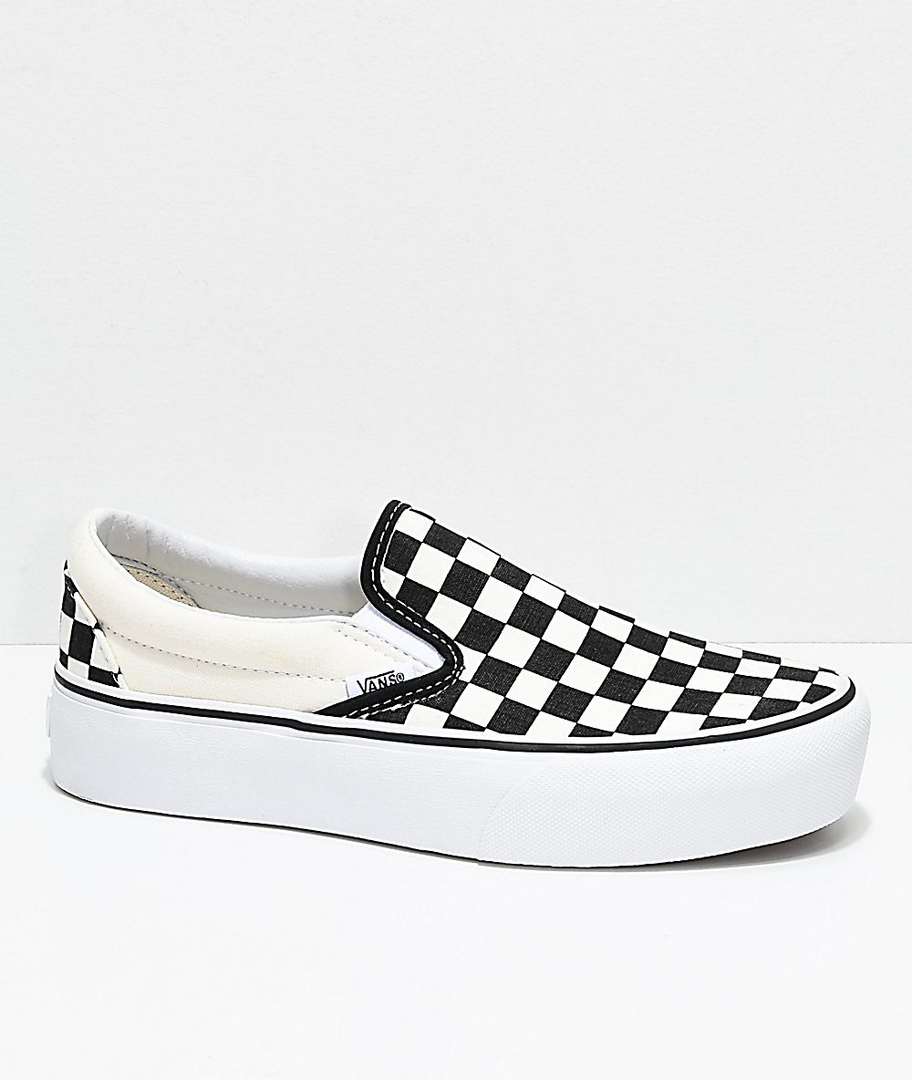 Vans Slip-On Black & White Checkered Platform Shoes