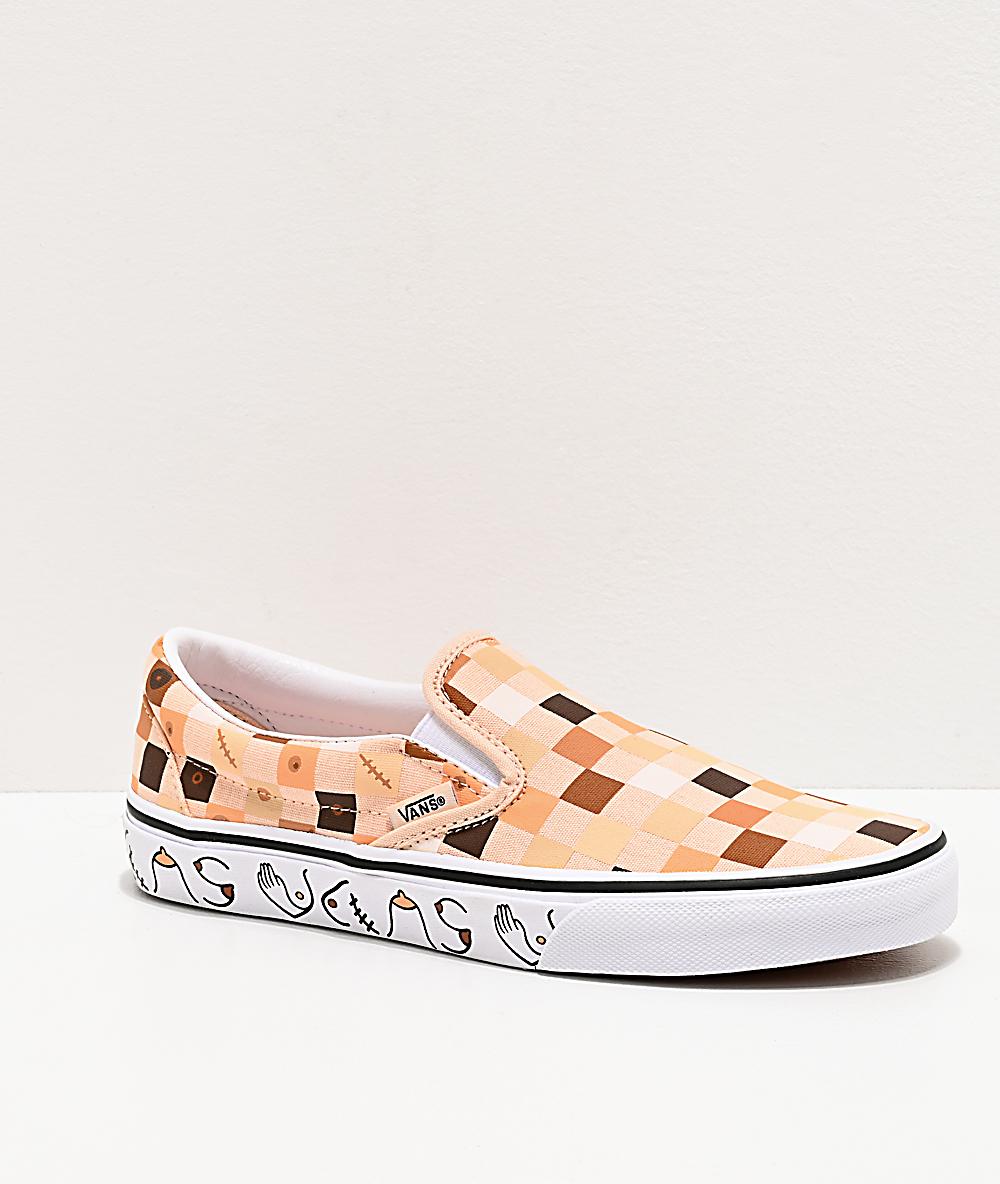 Vans Slip On Breast Cancer Awareness Checkerboard Skate Shoes