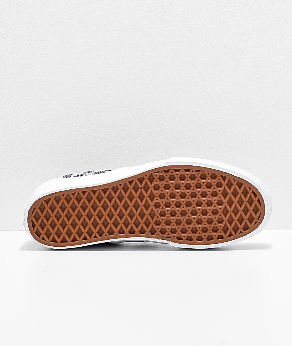 Vans Slip On Checkerboard Denim Platform Skate Shoes