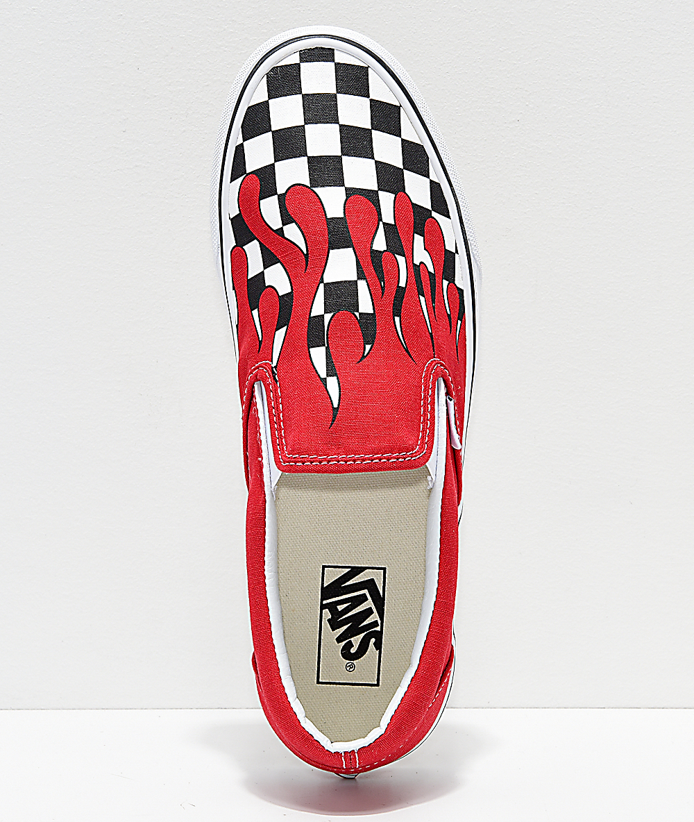 Vans Slip On Checkerboard Flame Red & White Skate Shoes