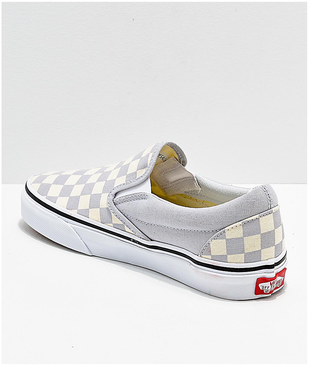 white and grey checkered vans