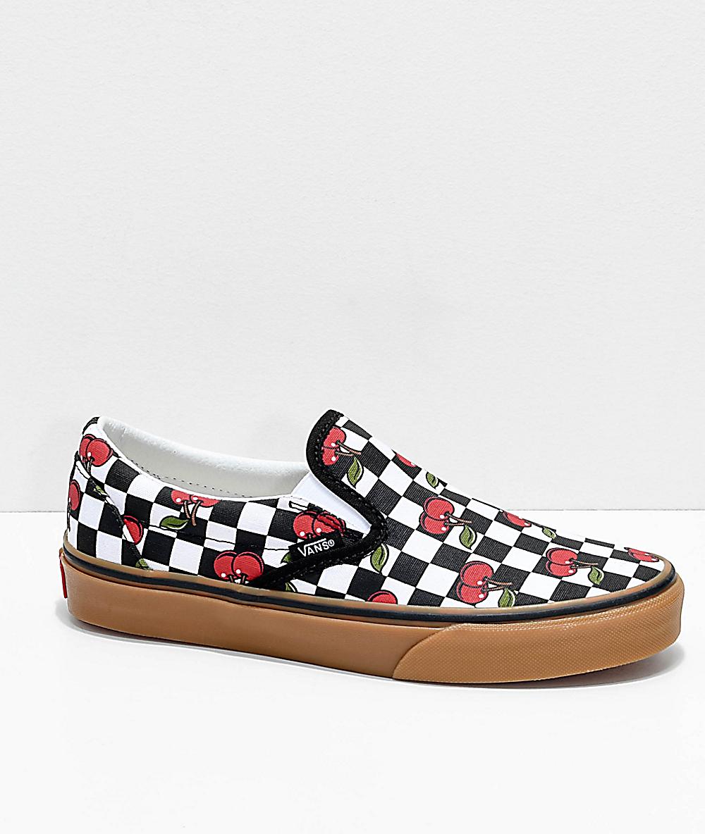 Vans Slip on Cherry Black & Gum