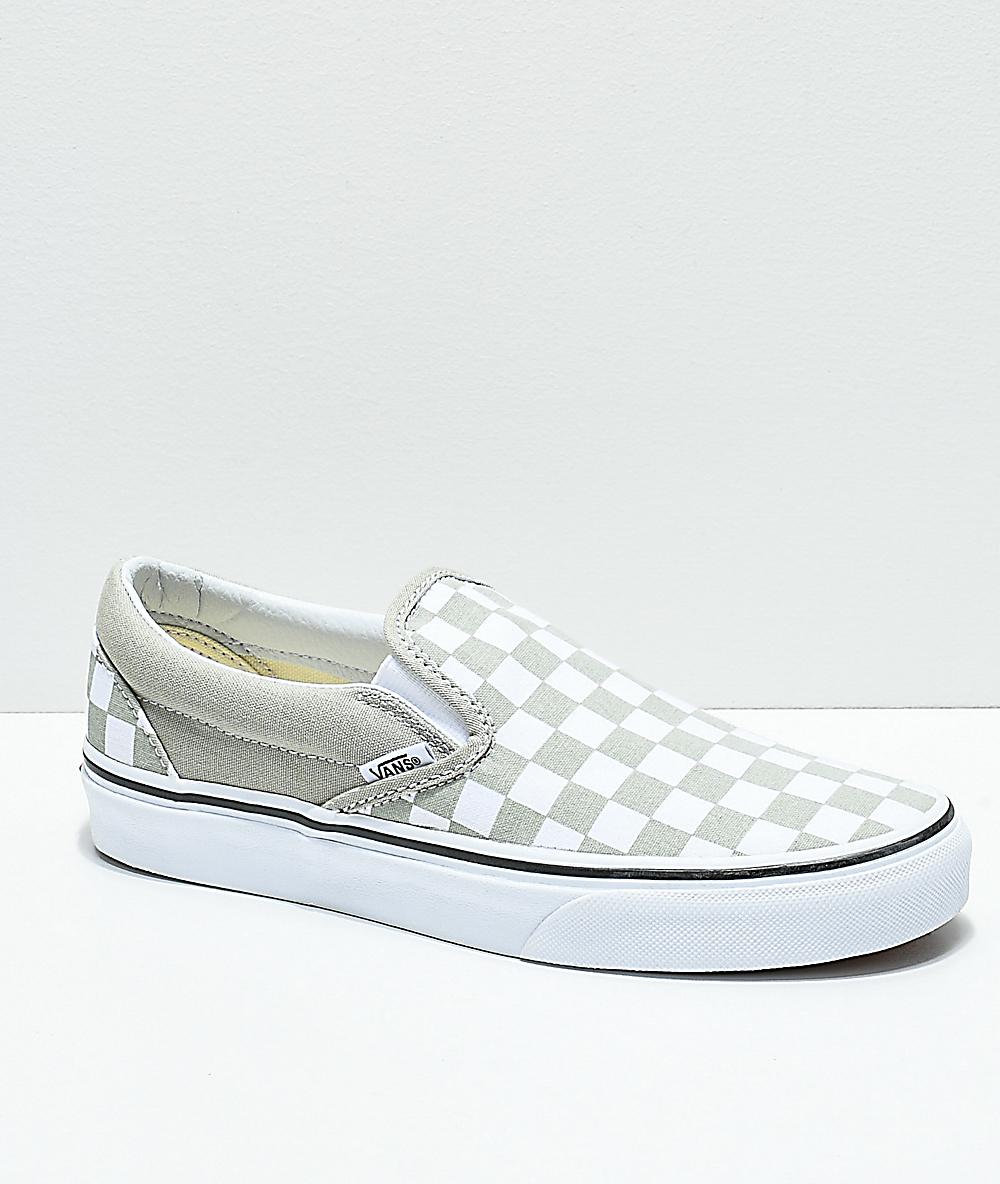 f8a1af3ef62fd Vans Slip-On Desert Sage & True White Checkerboard Skate Shoes
