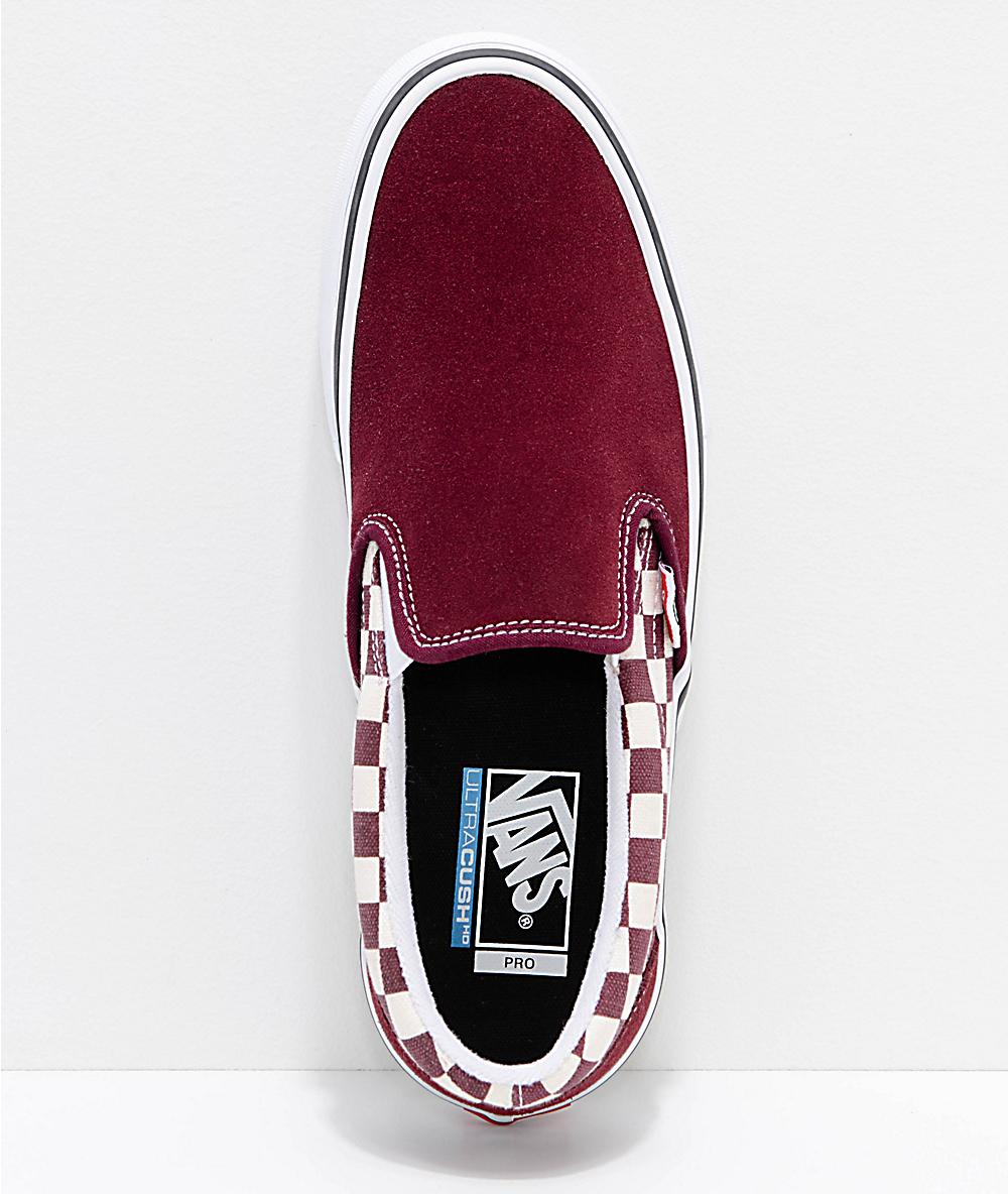 de6c750d61a5 Vans Slip-On Pro Port Royal Red & White Checkered Skate Shoes | Zumiez
