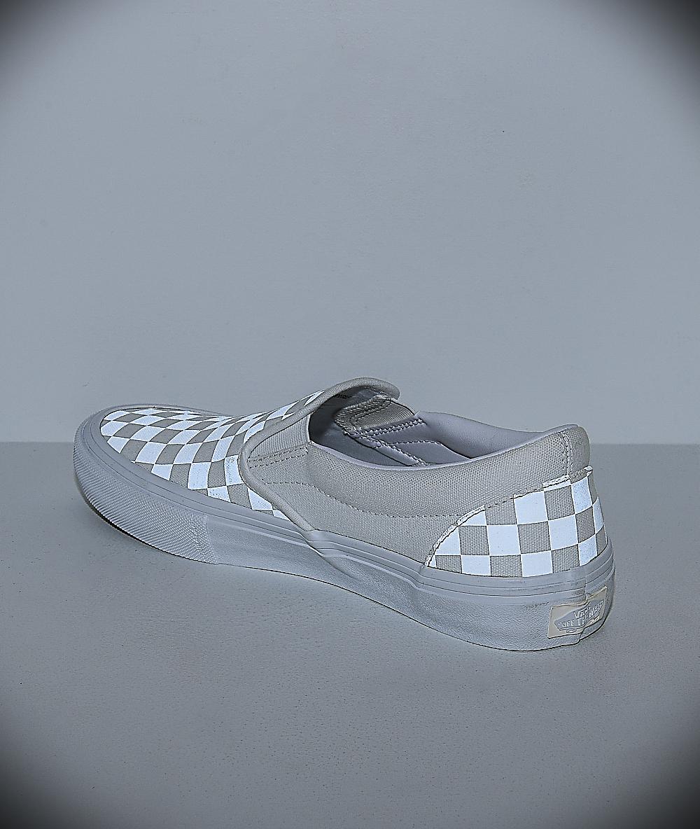 vans slip on pro reflect blanc skate chaussures