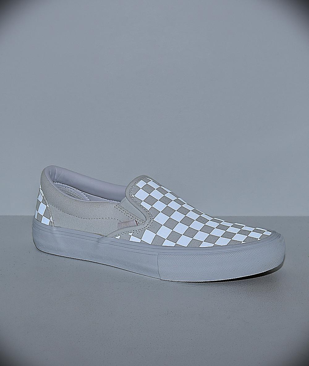 Vans Slip On Pro Reflect White Skate Shoes