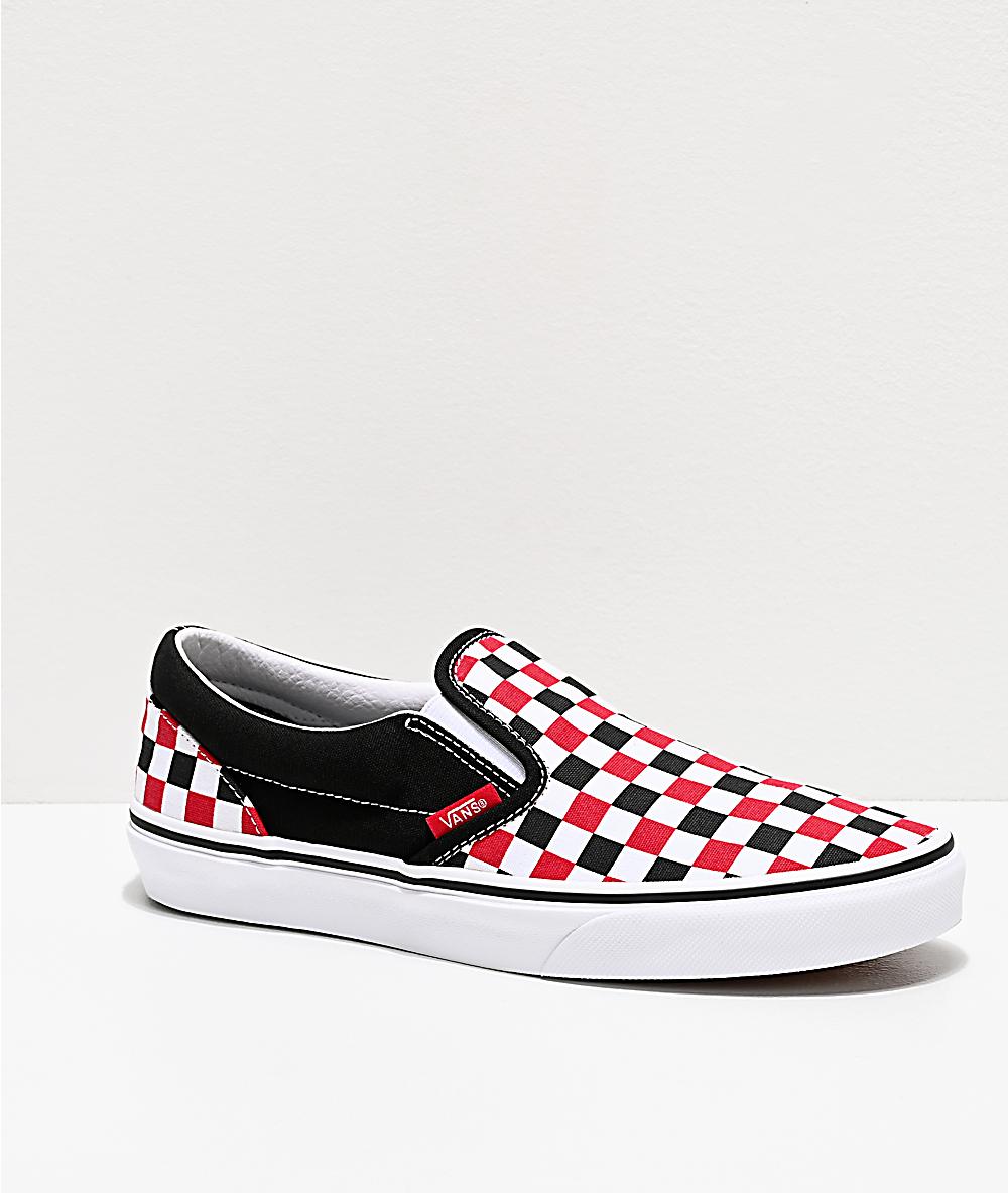 Vans Slip On Red, Black & White Checkered Skate Shoes