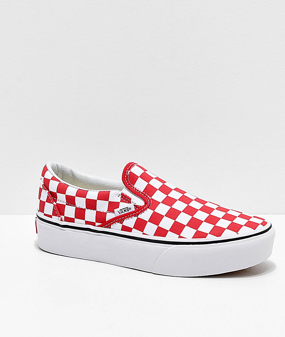 Vans Slip-On Red Checkerboard Platform Shoes