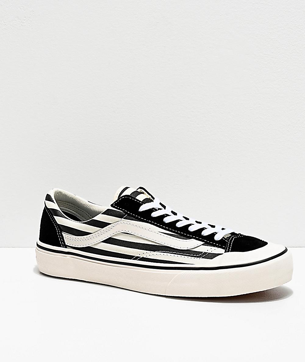 vans style 36 black white