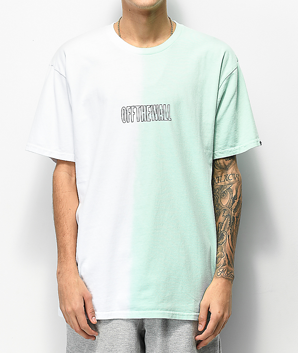 Vans White & Mint Green Split Dyed T Shirt