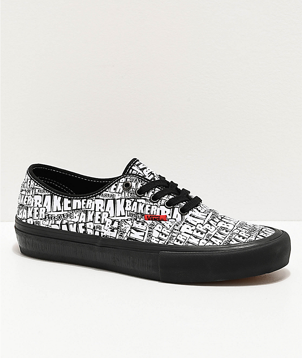Vans x Baker Authentic Pro Black & White Skate Shoes | Zumiez
