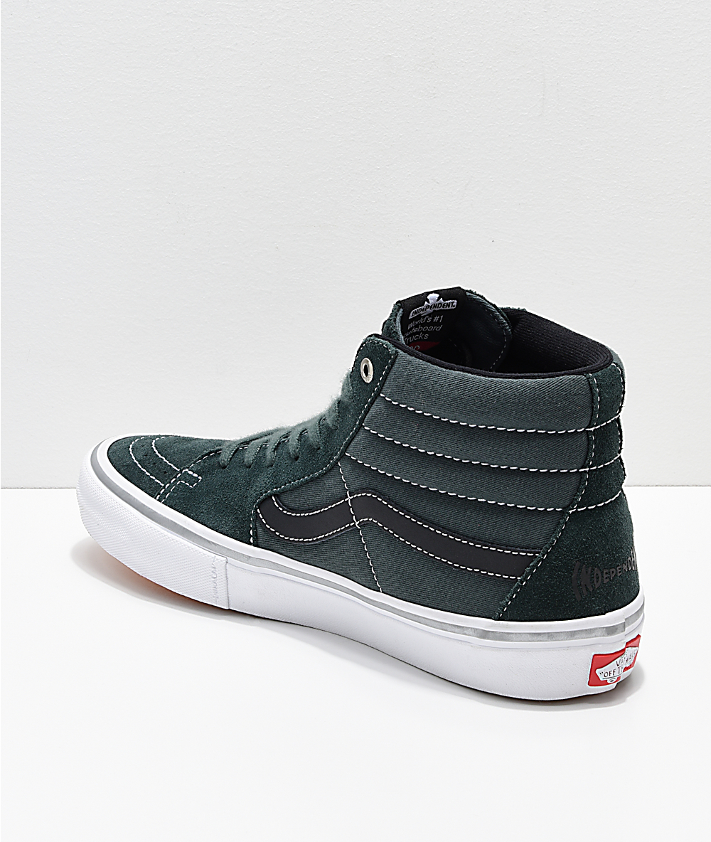 28090c1a8ba6 Vans x Independent Sk8-Hi Pro Spruce Green Skate Shoes | Zumiez