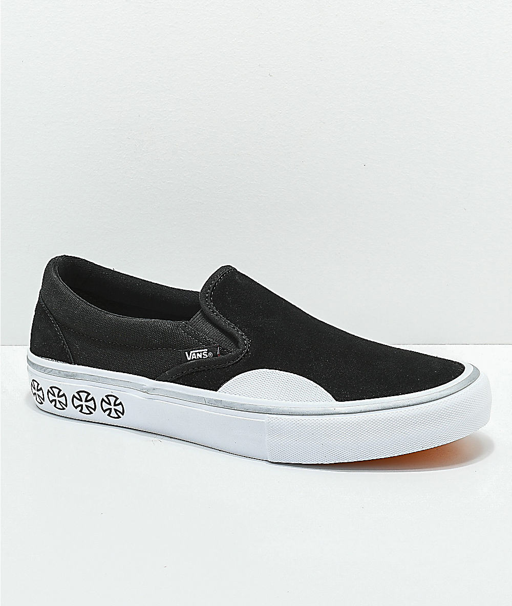 0e1266a32fc7 Vans x Independent Slip-On Pro Black & White Skate Shoes | Zumiez