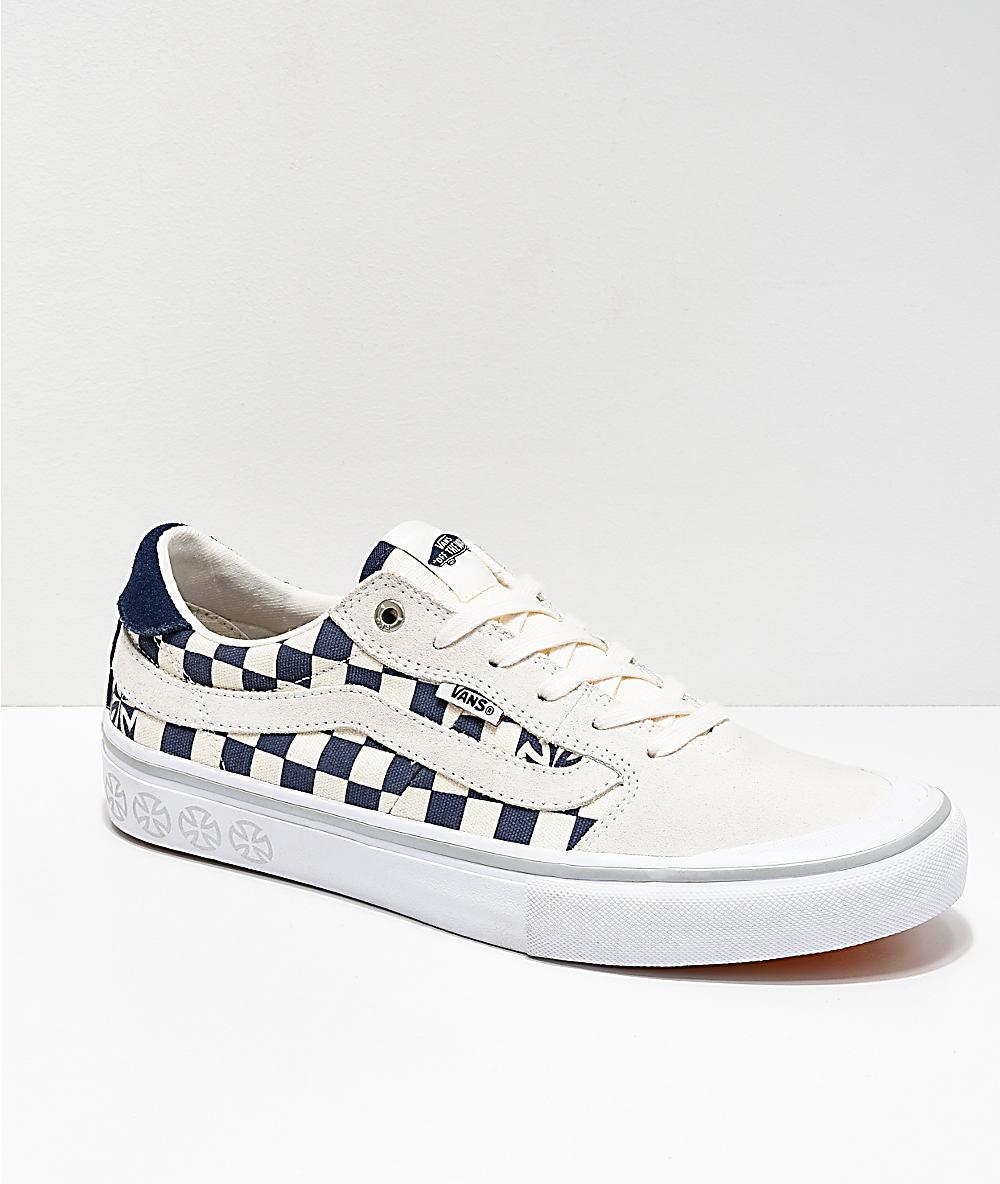 044303d56d Vans x Independent Style 112 Blue & White Checkerboard Skate Shoes