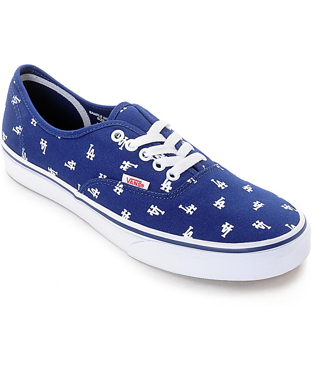 23ac7a601d Vans x MLB Authentic Dodgers Canvas Skate Shoes | Zumiez
