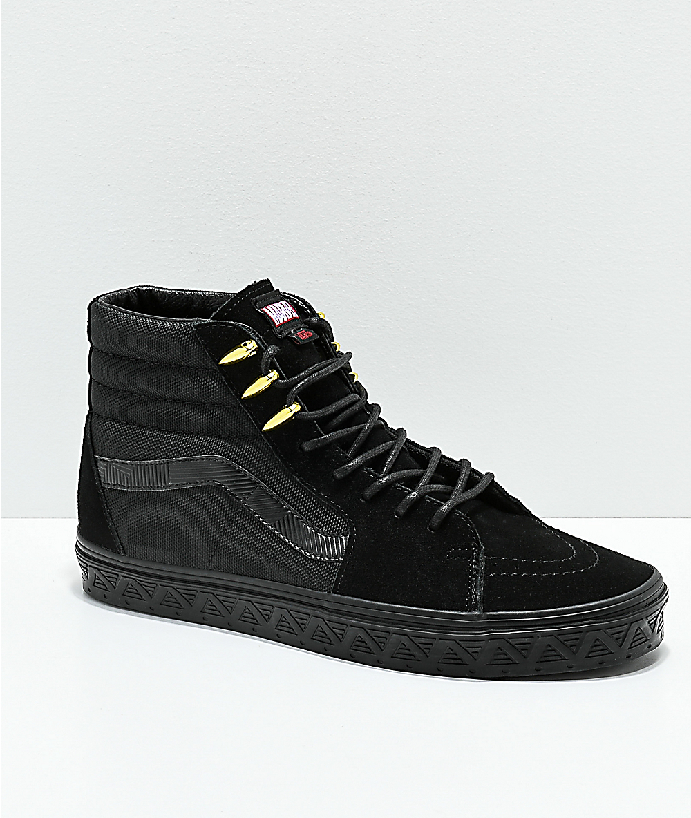 e9372a1ecd0 Vans x Marvel Sk8-Hi Black Panther Black & Gold Skate Shoes