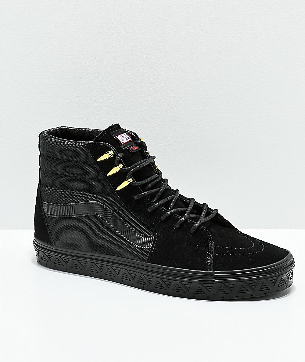 Vans Sk8 Y Black Negro Hi De Skate Marvel Panther X Oro Zapatos En ARq54j3L