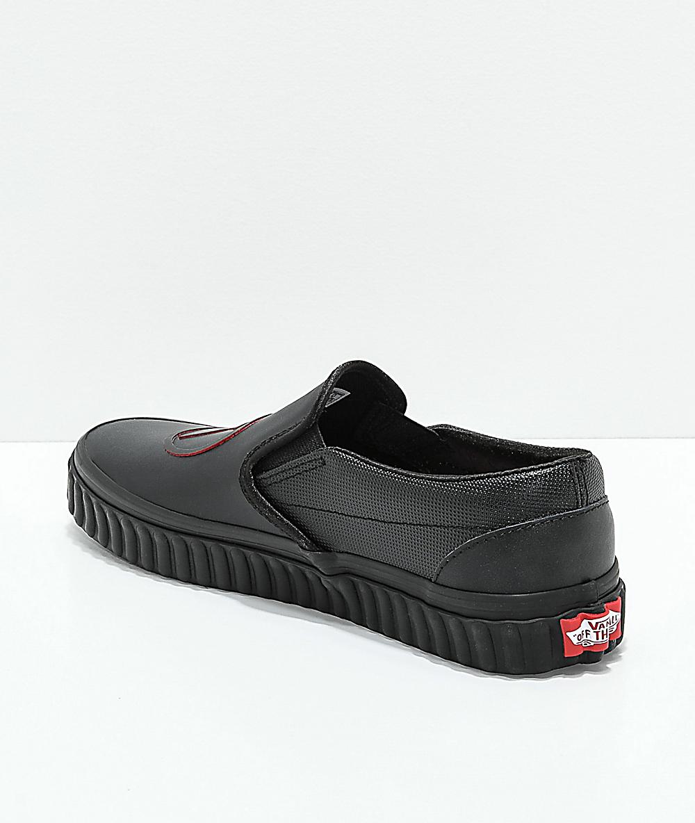 Vans x Marvel Slip On Black Widow Skate Shoes