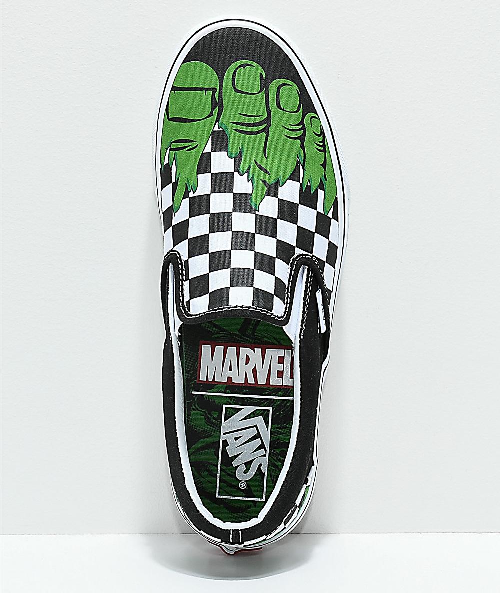 Vans x Marvel Slip On Hulk Checkerboard Shoes
