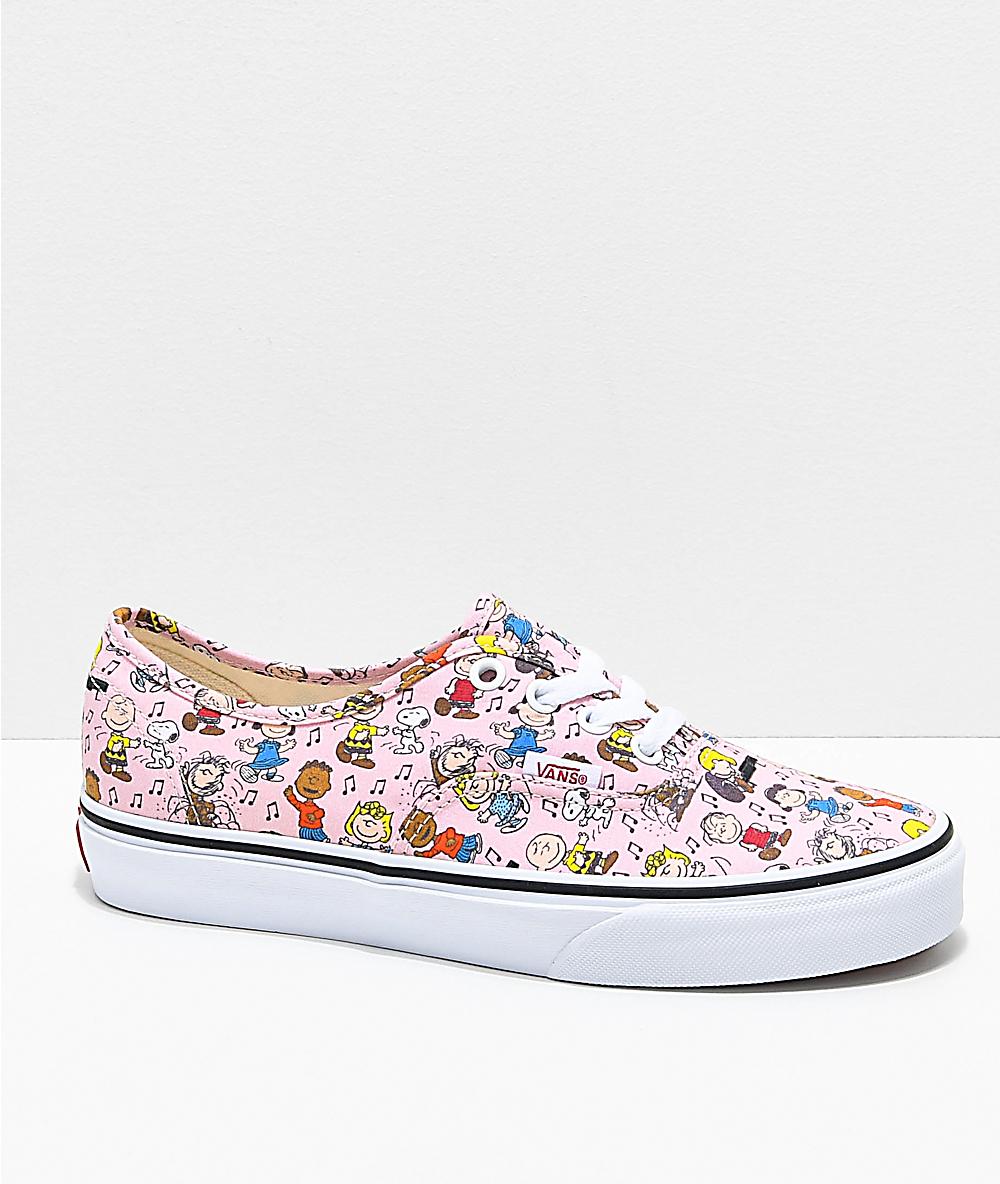 finest selection 2d930 f9dfe Vans x Peanuts Authentic Dance Pink   White Skate Shoes   Zumiez