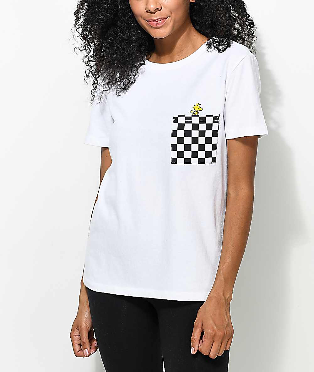 9d63781b195878 Vans x Peanuts Woodstock Checkered White Pocket T-Shirt | Zumiez
