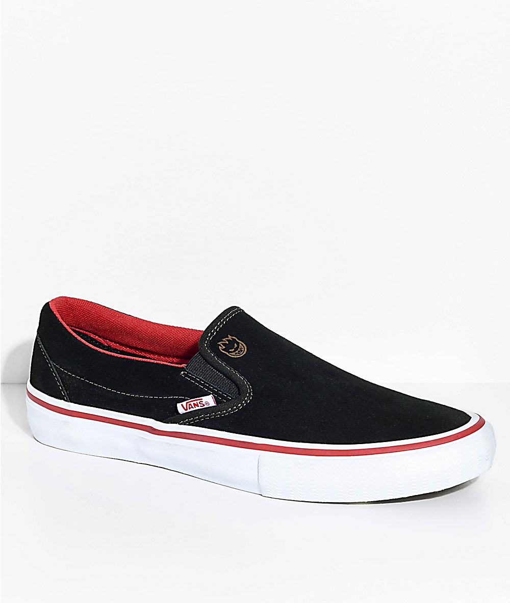 bbfe5699be Vans x Spitfire Slip-On Pro Black Suede Skate Shoes