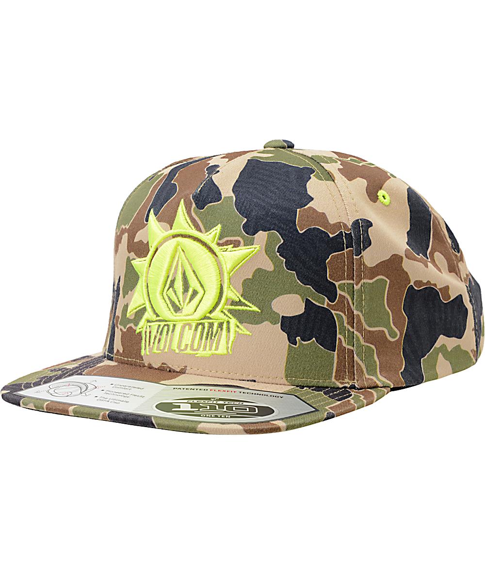 282a1bea Volcom Burst Camo Flexfit Snapback Hat   Zumiez