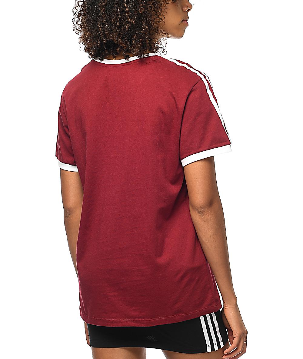 5120f5cfba adidas 3 Stripe Burgundy T-Shirt
