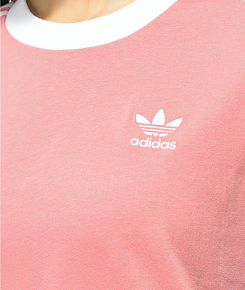 adidas 3 Stripe Light Pink T-Shirt