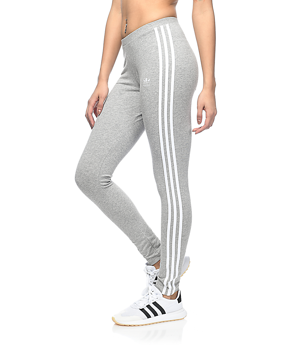 27033e061679b3 adidas 3 Stripe Medium Grey Leggings | Zumiez