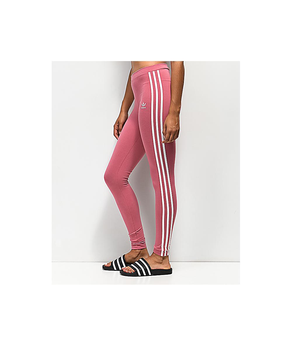 aa8f7b8ddc4e88 adidas 3 Stripe Pink Leggings   Zumiez