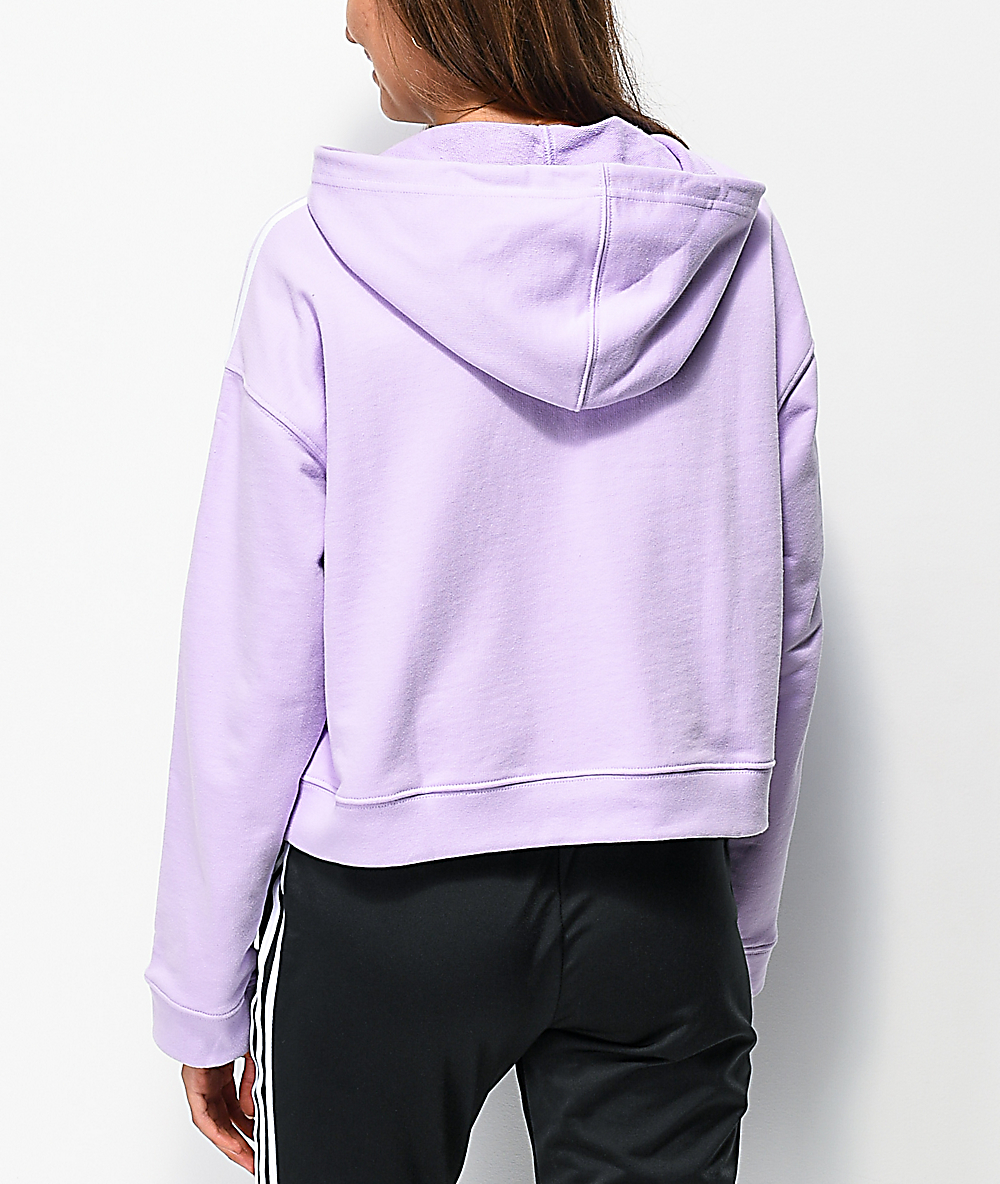 a8fe0c0a9f adidas 3-Stripe Purple Glow Crop Hoodie