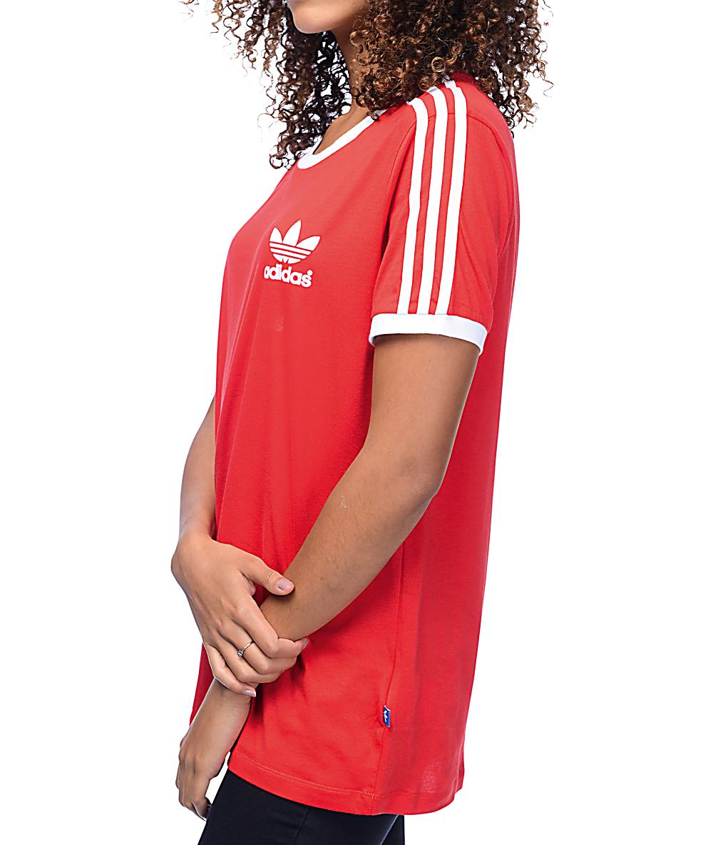297b84f813 adidas 3 Stripe Red Womens T-Shirt