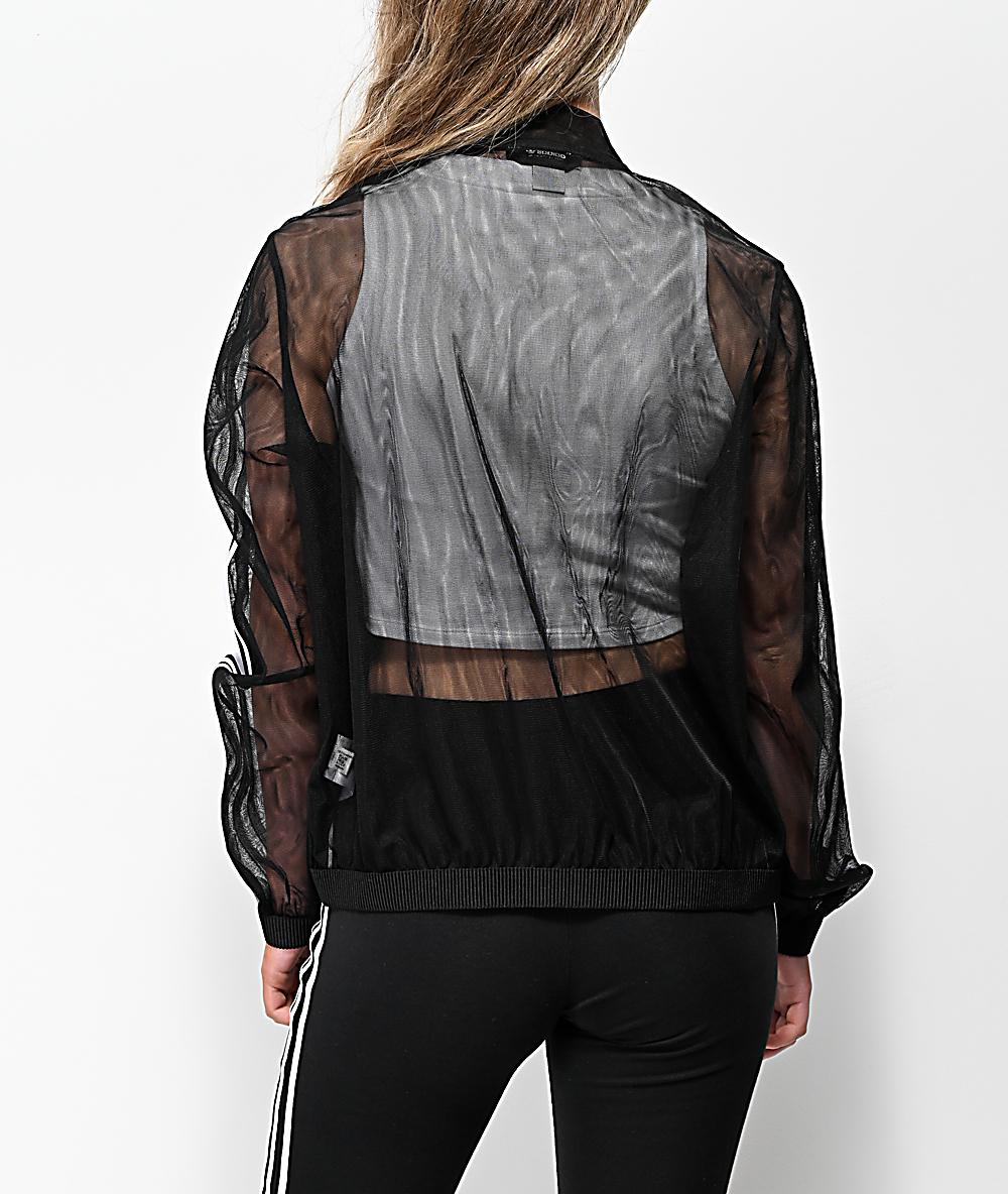 adidas 3 Stripe Tulle Black Track Jacket