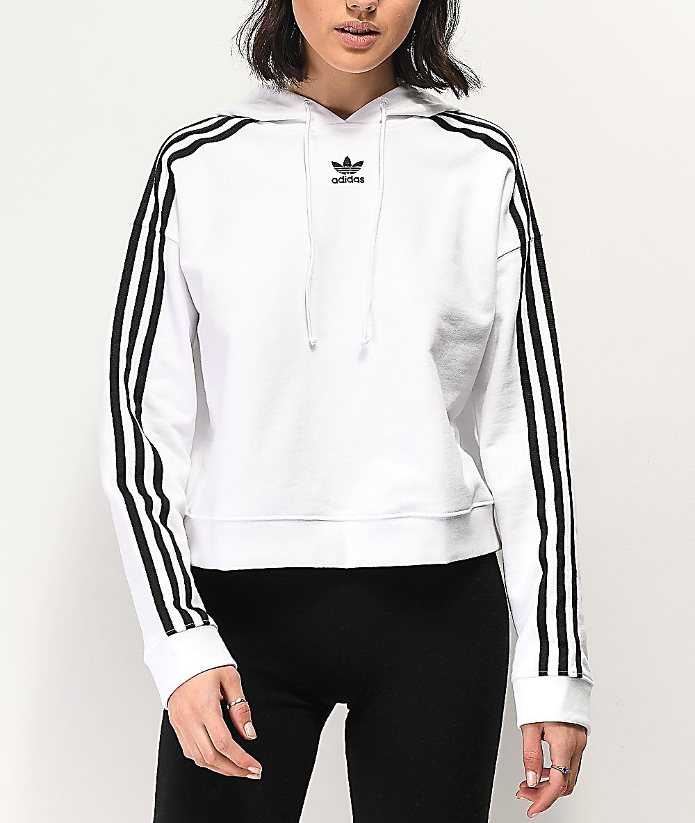 adidas 3 stripe sweatshirt white