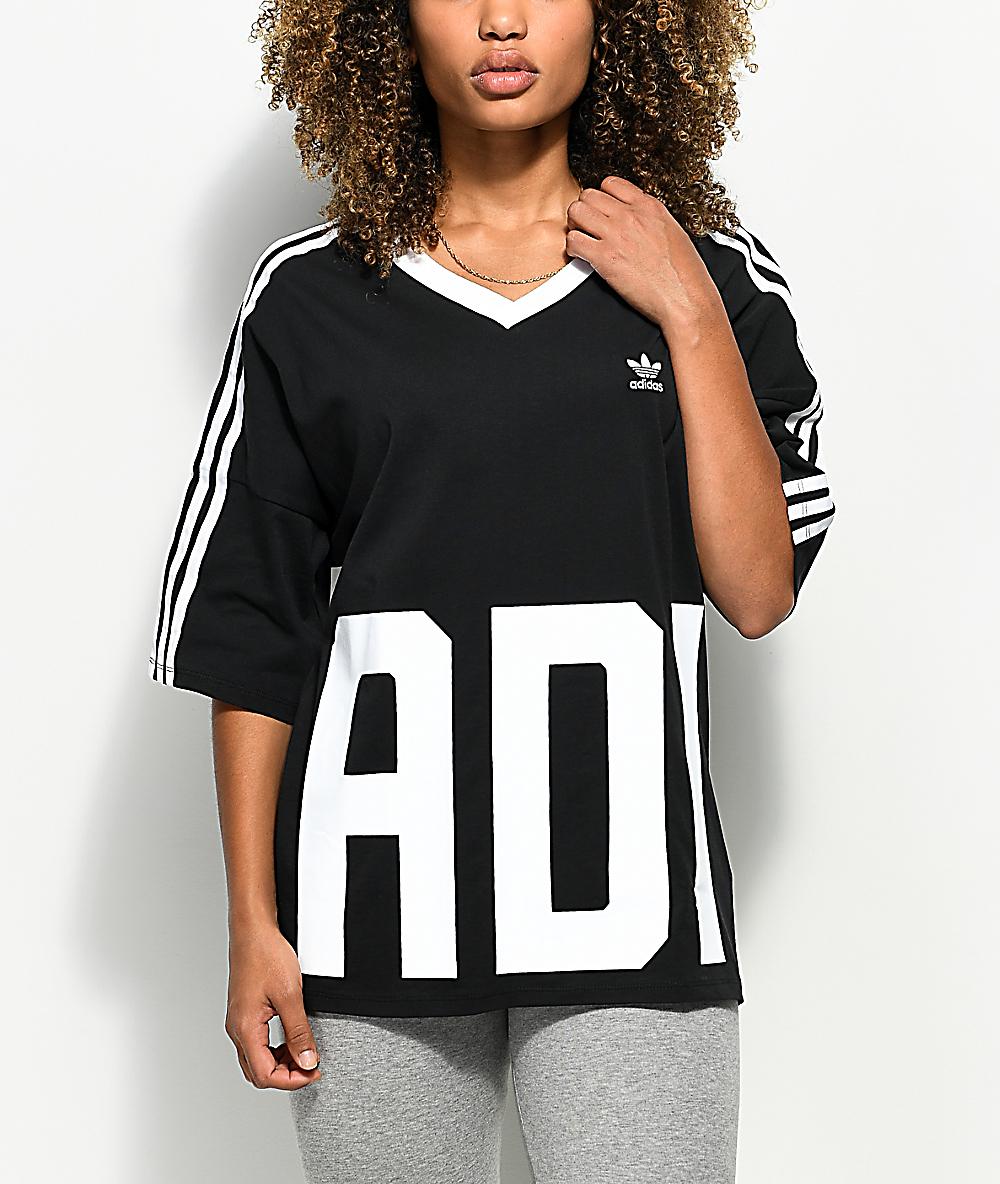 adidas Big Logo 3 Stripe V Neck T Shirt