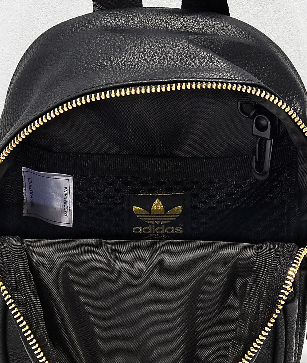 good looking detailed look sneakers for cheap adidas Black & Gold Faux Leather Mini Backpack