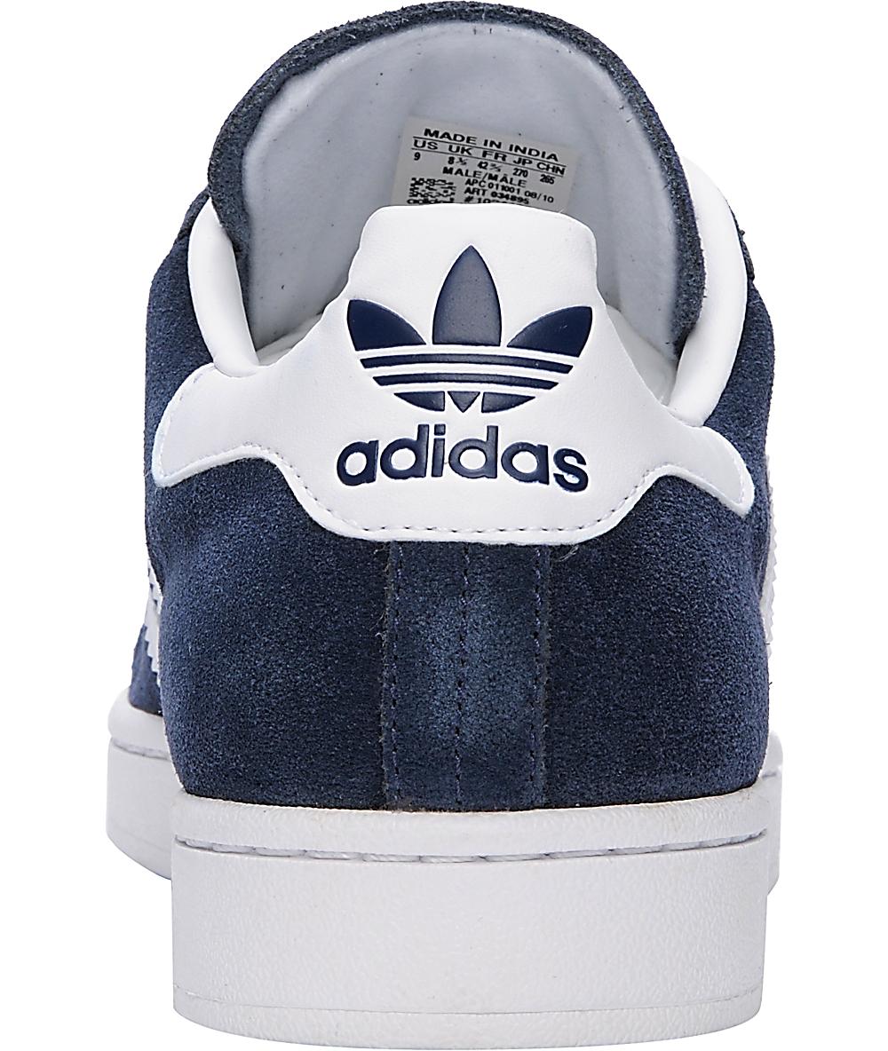 adidas Campus II Navy & White Suede Shoes Zumiez    adidas Campus II Navy & hvid ruskind   title=          Zumiez