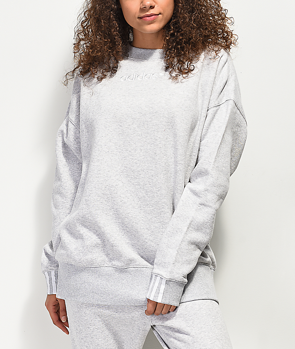 Adidas Neck Crew Sweatshirt Coeeze Light Grey rstQhdC