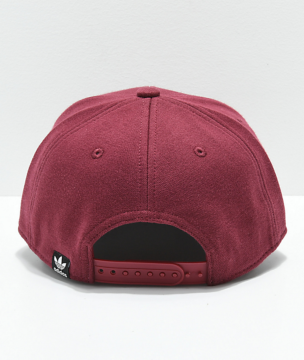 c474161d8bba4b adidas Originals Trefoil Mixed Burgundy Snapback Hat | Zumiez