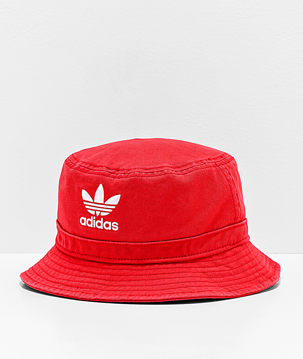 temor Serpiente Estado  adidas Originals Washed Red Bucket Hat | Zumiez