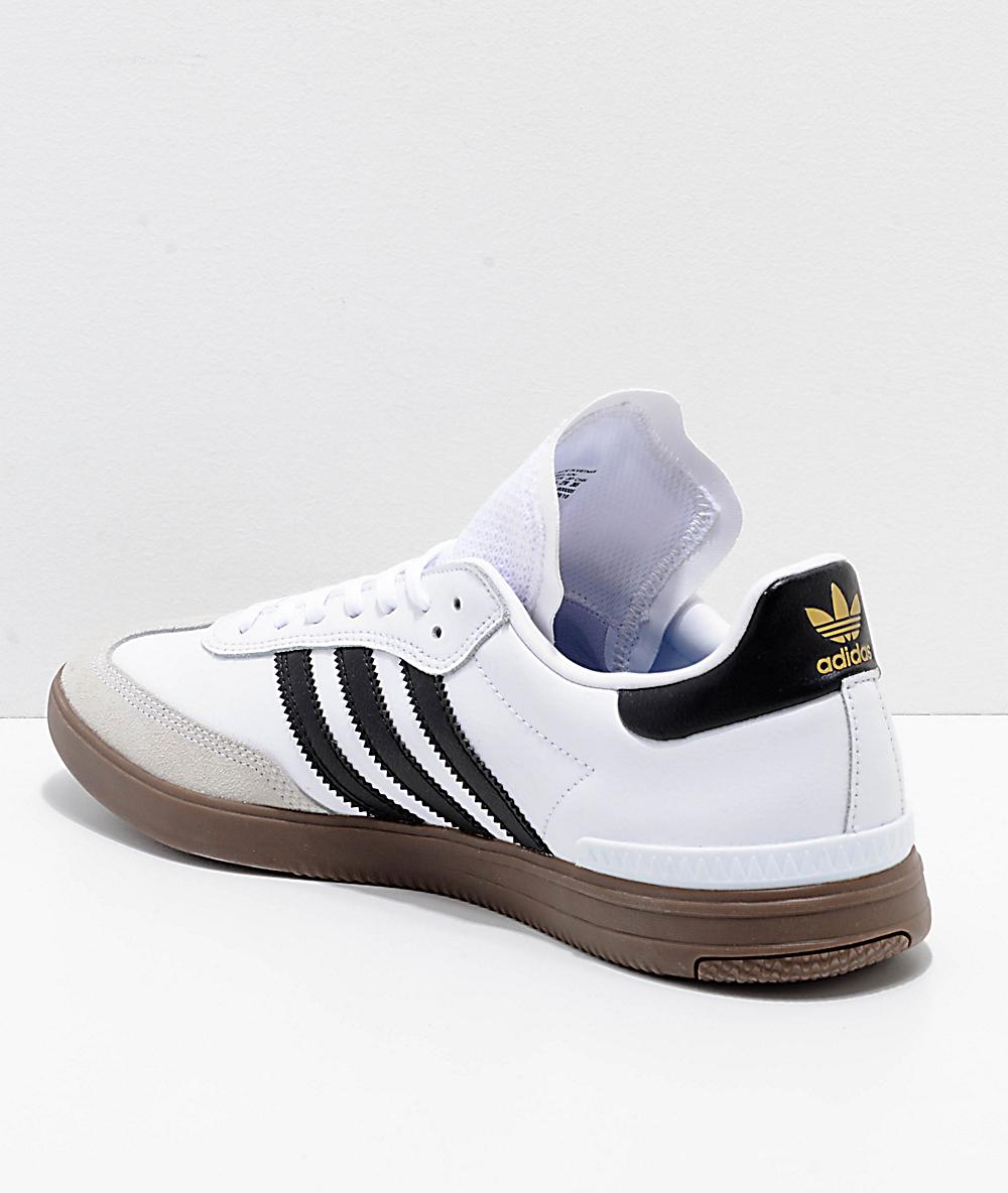 208e2b3d3 adidas Samba ADV White, Black & Gum Shoes   Zumiez