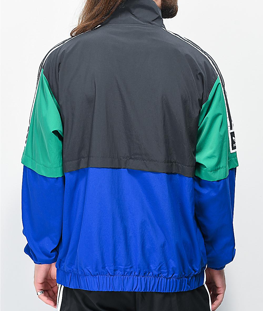 voluntario Fuera de plazo giratorio  adidas Standard chaqueta cortavientos negra, azul y verde   Zumiez